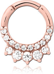 ROSE GOLD PVD COATED SURGICAL STEEL GRADE 316L JEWELED HINGED SEPTUM CLICKER RING