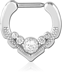 SURGICAL STEEL GRADE 316L JEWELED HINGED SEPTUM CLICKER RING