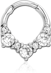 STERILE SURGICAL STEEL GRADE 316L JEWELED HINGED SEPTUM CLICKER RING