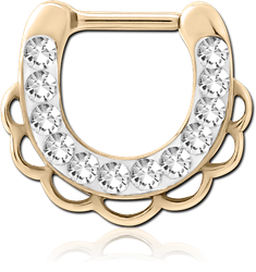 ZIRCON GOLD PVD COATED SURGICAL STEEL GRADE 316L ROUND CRYSTALINE JEWELED HINGED SEPTUM CLICKER