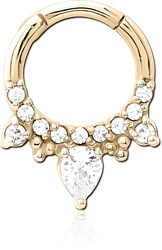 ZIRCON GOLD PVD COATED SURGICAL STEEL GRADE 316L JEWELED HINGED SEPTUM CLICKER RING