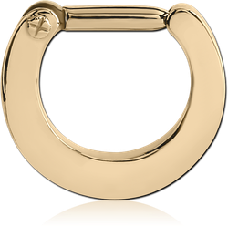 ZIRCON GOLD PVD COATED SURGICAL STEEL GRADE 316L HINGED SEPTUM CLICKER RING