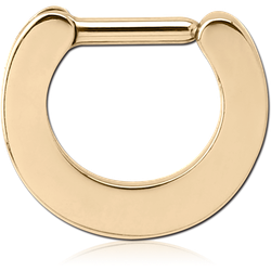 ZIRCON GOLD PVD COATED SURGICAL STEEL GRADE 316L HINGED SEPTUM CLICKER