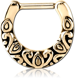 ZIRCON GOLD PVD COATED SURGICAL STEEL GRADE 316L HINGED SEPTUM CLICKER - FILIGREE