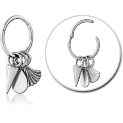 SURGICAL STEEL GRADE 316L HINGED SEGMENT RING WITH CHARM