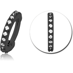 BLACK PVD COATED SURGICAL STEEL GRADE 316L JEWELED HINGED SEGMENT CLICKER