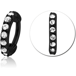 BLACK PVD COATED SURGICAL STEEL GRADE 316L PRONG SET HIGH END CRYSTAL JEWELED HINGED SEGMENT CLICKER