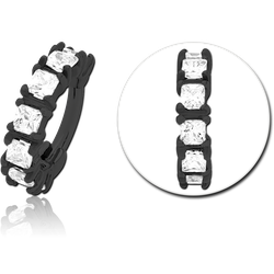 BLACK PVD COATED SURGICAL STEEL GRADE 316L PRONG SET CRYSTAL JEWELED HINGED SEGMENT CLICKER