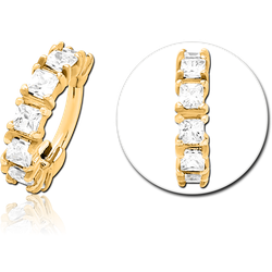 GOLD PVD COATED SURGICAL STEEL GRADE 316L PRONG SET CRYSTAL JEWELED HINGED SEGMENT CLICKER