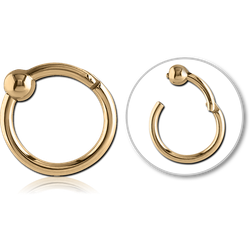 ZIRCON GOLD PVD COATED SURGICAL STEEL GRADE 316L HINGED SEGMENT RING WITH BALL