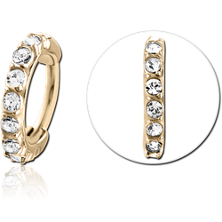 ZIRCON GOLD PVD COATED SURGICAL STEEL GRADE 316L PRONG SET SWAROVSKI CRYSTAL JEWELED HINGED SEGMENT CLICKER