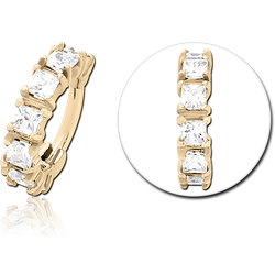 ZIRCON GOLD PVD COATED SURGICAL STEEL GRADE 316L PRONG SET CRYSTAL JEWELED HINGED SEGMENT CLICKER