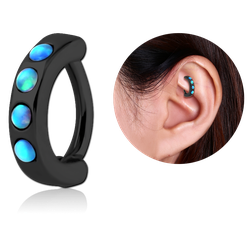 BLACK PVD COATED SURGICAL STEEL GRADE 316L SYNTHETIC OPAL ROOK CLICKER
