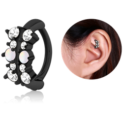 BLACK PVD COATED SURGICAL STEEL GRADE 316L JEWELED ROOK CLICKER - FILIGREE