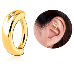 GOLD PVD COATED SURGICAL STEEL GRADE 316L JEWELED ROOK CLICKER