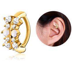 GOLD PVD COATED SURGICAL STEEL GRADE 316L JEWELED ROOK CLICKER - FILIGREE