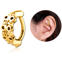 GOLD PVD COATED SURGICAL STEEL GRADE 316L ROOK CLICKER - FILIGREE