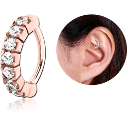 ROSE GOLD PVD COATED SURGICAL STEEL GRADE 316L PRONG SET CRYSTAL JEWELED ROOK CLICKER