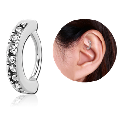 SURGICAL STEEL GRADE 316L SWAROVSKI CRYSTAL JEWELED ROOK CLICKER