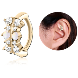 ZIRCON GOLD PVD COATED SURGICAL STEEL GRADE 316L JEWELED ROOK CLICKER - FILIGREE
