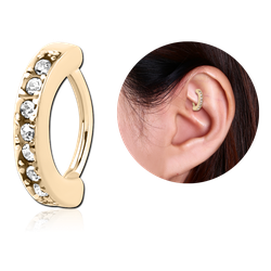 ZIRCON GOLD PVD COATED SURGICAL STEEL GRADE 316L SWAROVSKI CRYSTAL JEWELED ROOK CLICKER